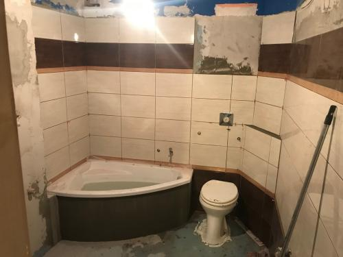 Fürdőszoba falburkolat: 40 x 25 cm-es kerámia burkolólap díszcsíkkalFürdőszoba falburkolat: 40 x 25 cm-es kerámia burkolólap díszcsíkkal